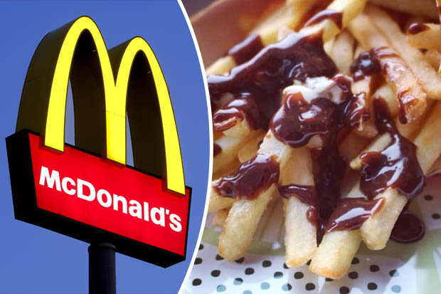 McDonald's logo and chocolate-drizzled fries
