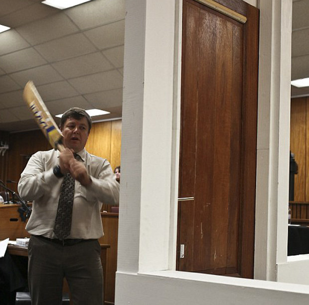 Cop beats down door with cricket bat