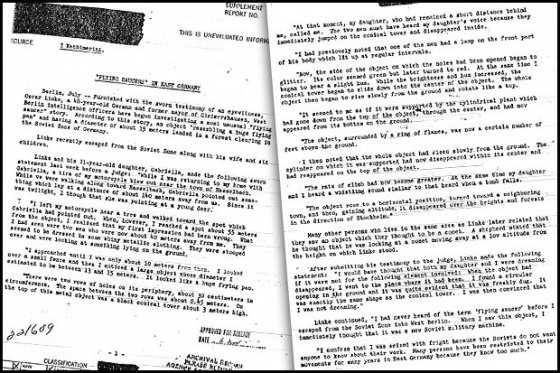 CIA file about Oskar Linke's UFO encounter