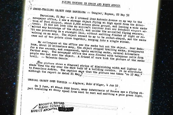 CIA file about UFO sightings in Spain and Morocco