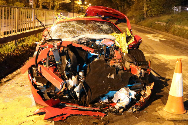 Ferrari involved in a collision in Croydon