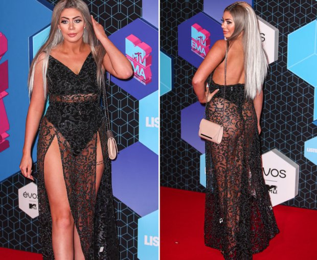 Geordie Shore's Chloe Ferry shows off her bum in lace dress at MTV EMAs