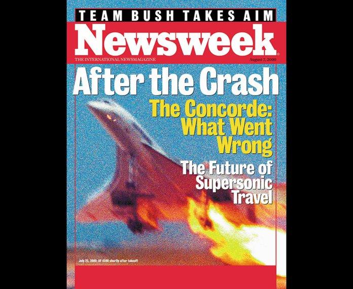 A capa da Newsweek no momento do acidente