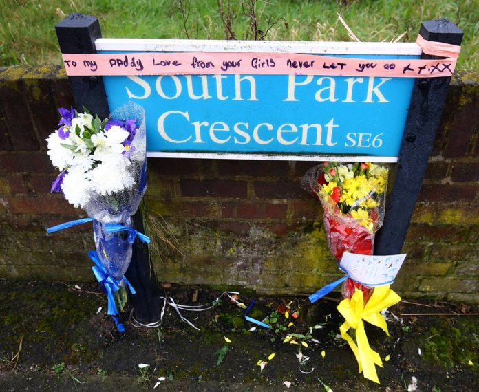Tributes in memory of Henry Vincent are left at the scene