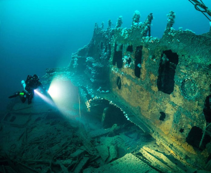 Among the wrecks are merchant vessels, submarines and ocean liners, with HMS Audacious being the oldest ruin