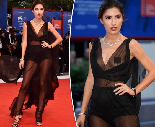 Patricia Manfield the Braless actress bares FULL chest in see-through gown