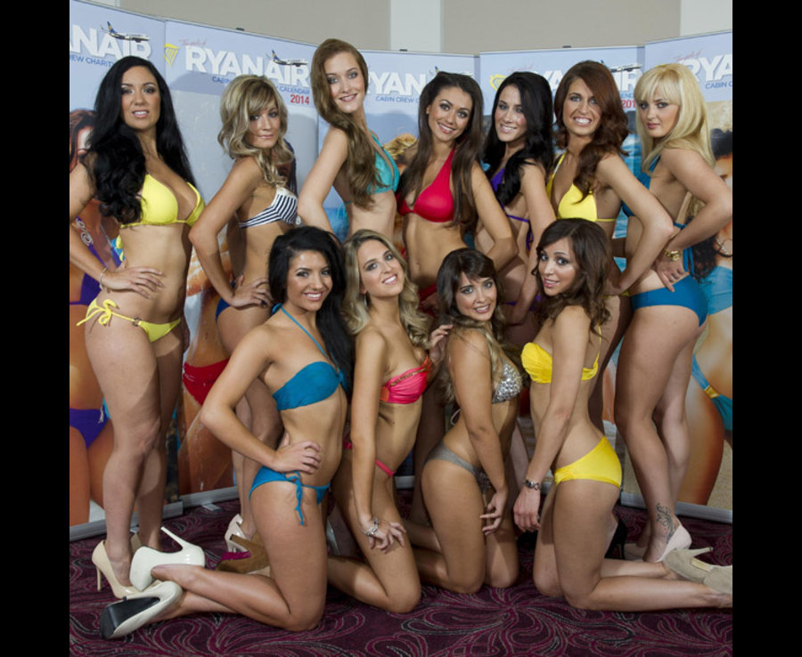 FLYING HIGH: The sexy girls gather for the launch of their charity calendar [HUMPHREY NEMAR]