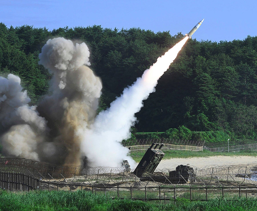 US and South Korean forces fire off missiles from the South's Hyunmu-2 Missile System and the US M20 Multiple Launch Rocket System. The test is in answer to North Korea's test of an ICBM