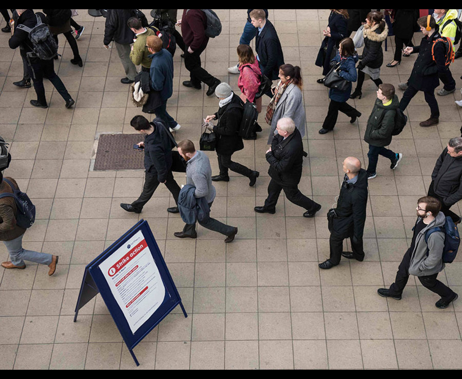 A notice about the strike action notifies passengers at Manchester Victoria station