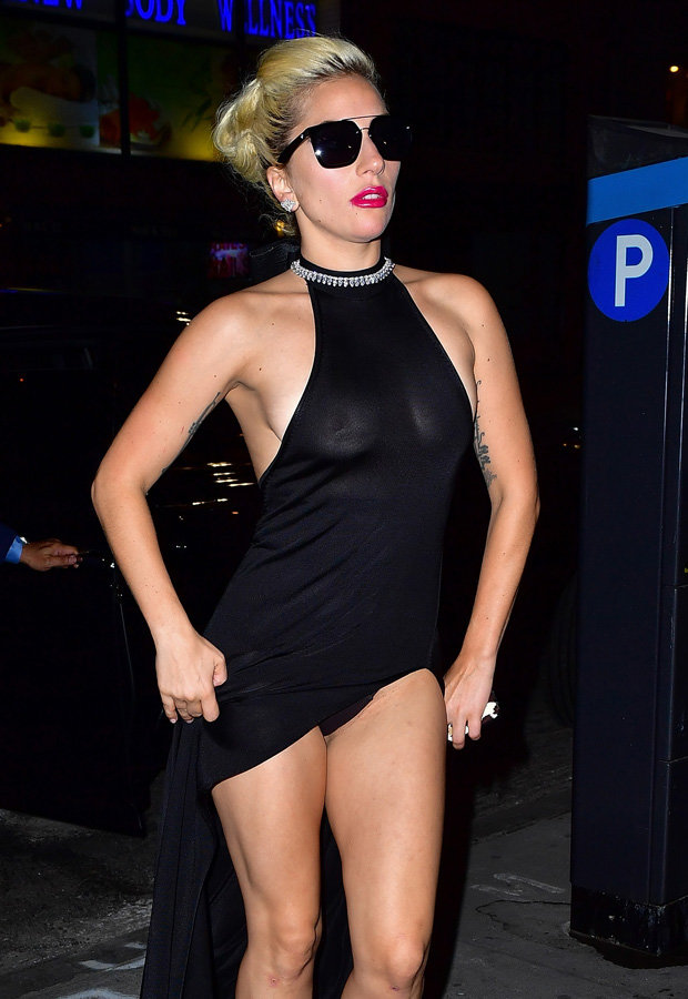 lady gaga sheer black dress