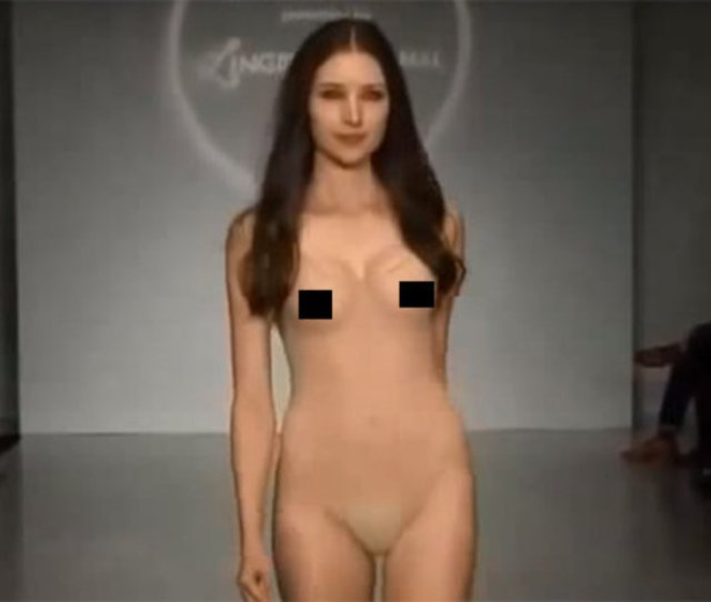 Explicit Vid Sexy Model Walks Down Catwalk Naked In Super See Through Outfit
