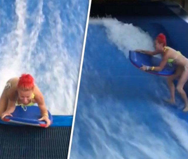Bikini Clad Woman On Wave Machine Ends Up Red Faced In Viral Video Daily Star
