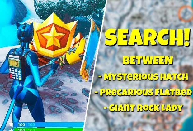 Fortnite Search Between Hatch, Giant Rock, Flatbed