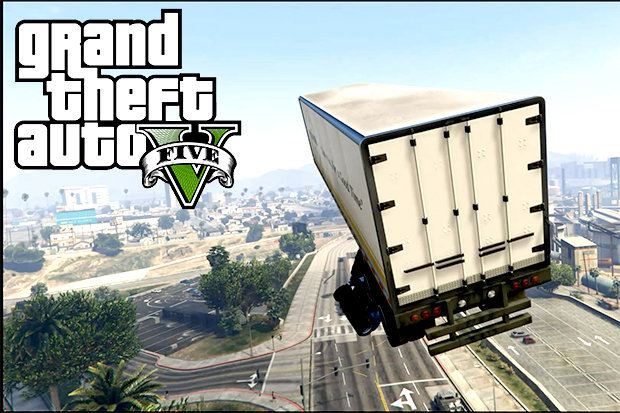 GTA 5 truck mid-way through epic jump