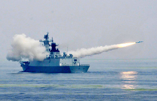 A frigate fires a missile during live-fire drill on Yellow Sea