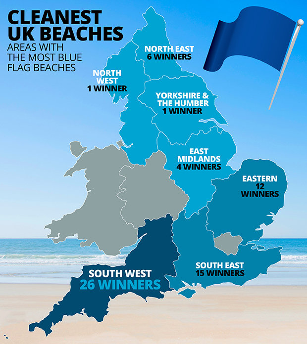 clean beaches mapped