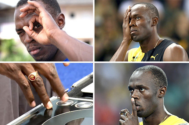 Usain Bolt displays a number of occult hand gestures
