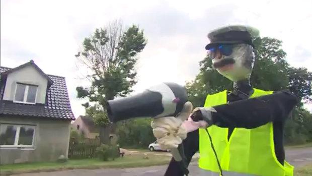 Fake traffic dummy in Poland