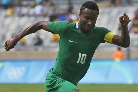John Obi Mikel plays for Nigeria against Honduras at Rio 2016 Olympic Games