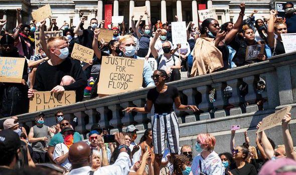 Black Lives Matter protest in Trafalgar Square London