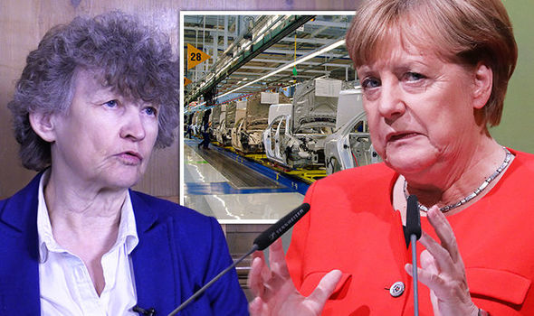 Brexiteer economist Ruth Lea and Angela Merkel  Brexit news: Angela Merkel's carmakers warned about HUGE problems if Brexit 'no deal' | UK | News Brexit news Germany Angela Merkel 866194