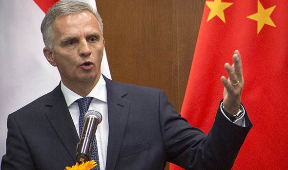 Swiss Foreign Minister Didier Burkhalter speaking in China