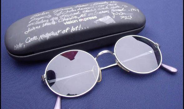 John Lennon's sunglasses and case