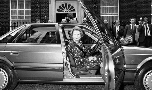 Margaret Thatcher in Rover 800