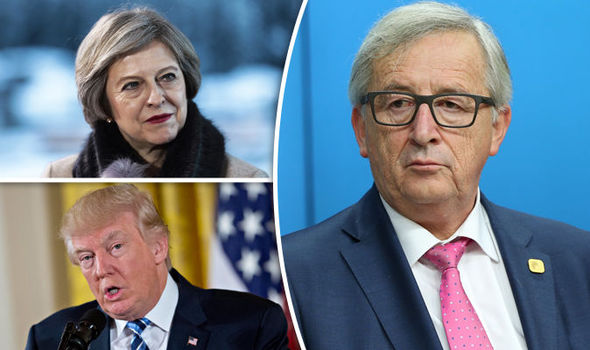 Theresa May, Juncker, Donald Trump