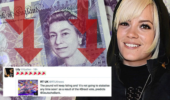 Lily Allen is apparently happy that the pound has fallen