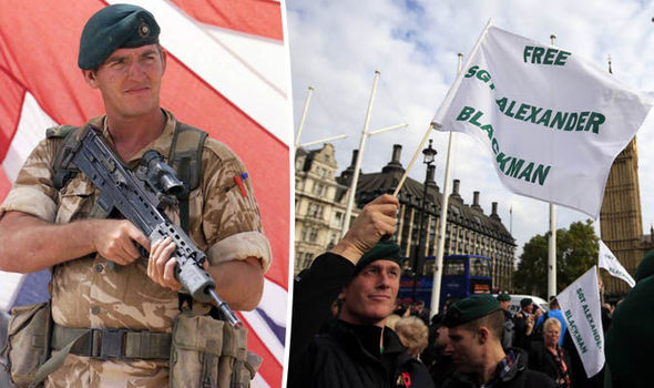 Thousands of people march through Westminster in protest at the imprisonment of Sgt Blackman