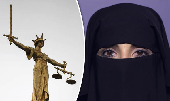 Scales of justice; Woman wearing burka
