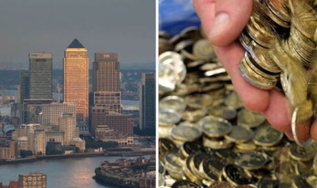 euro coins and The City of London