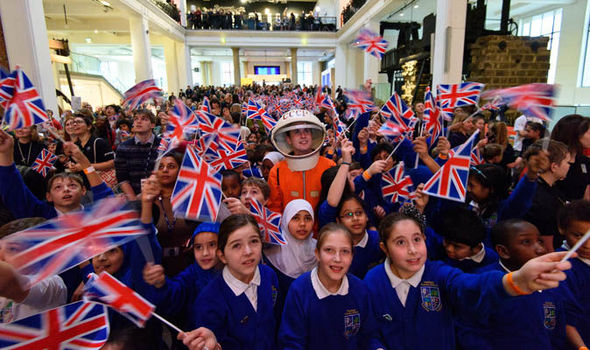 British kids watching space launch