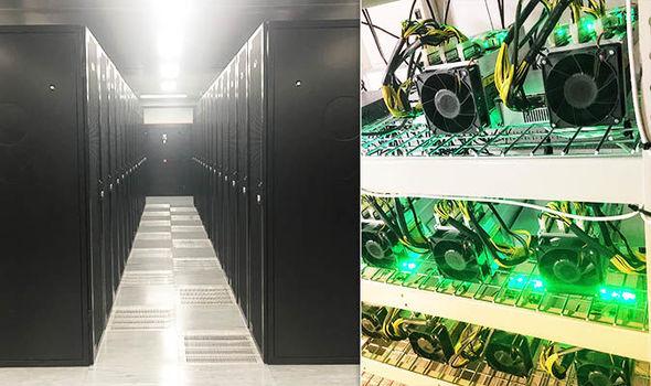 Hardware inside a London bitcoin mining farm