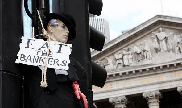 Banker protest