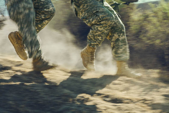 Solder's boots rushing down hill