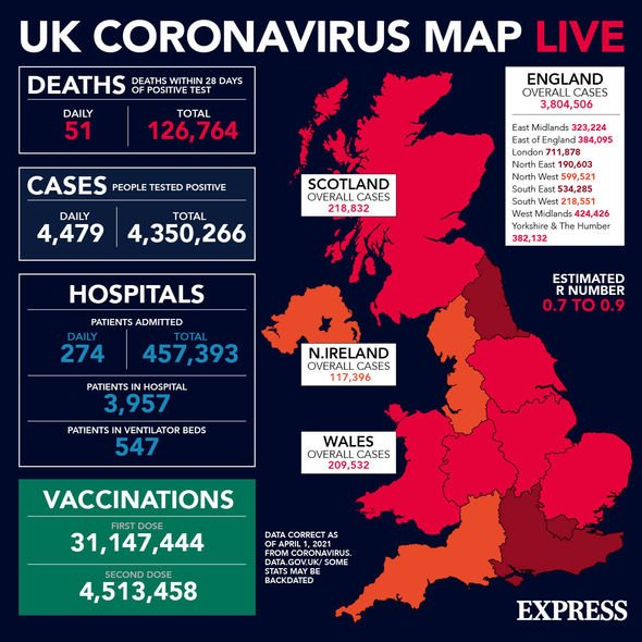 Coronavirus cases around the UK