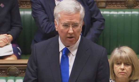 Defence Secretary Sir Michael Fallon speaking in the Commons on Monday