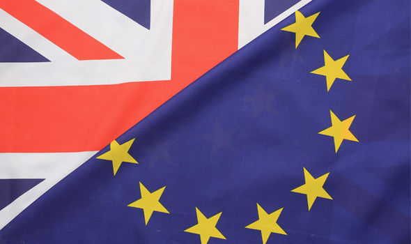 EU and British flag with foreign aid changes