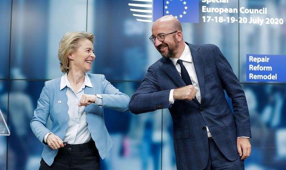 European Council president Charles Michel with Ursula von der Leyen