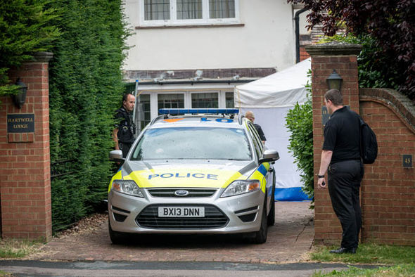 Police outside Helen Bailey's house
