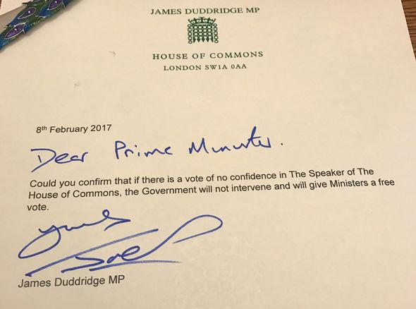 James Duddridge no confidence motion
