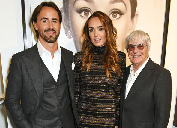 Jay Rutland com a esposa Tamara Ecclestone e Bernie Ecclestone