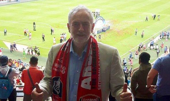 Jeremy Corbyn in Arsenal scarf at Wembley