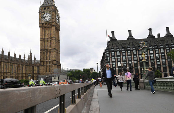 A security barrier between the road and the pavement is pictured after being installed on Westminster Bridge in London