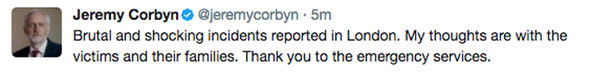 London Bridge terror attack Jeremy Corbyn tweets about the incident