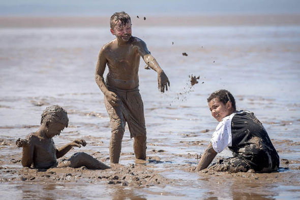Children playing in mud