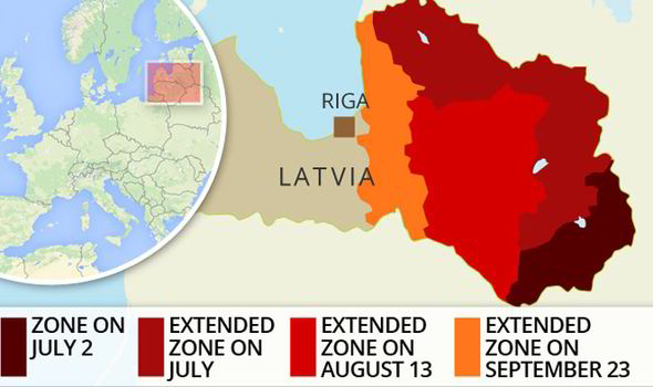 Map showing African Swine Flu spread