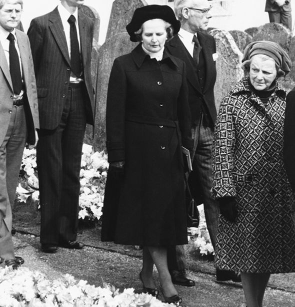 Margaret Thatcher attends Mr Neave's funeral